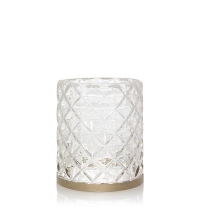 Langham - Porta giara con banda metallica e vetro sfaccettato Yankee Candle