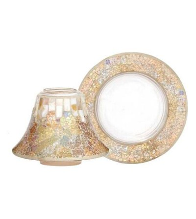 Gold & Pearl Crackle - Paralume e Piattino Grande Yankee Candle