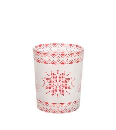 Red Nordic Frosted Glass - Porta candela sampler/tea light Yankee Candle