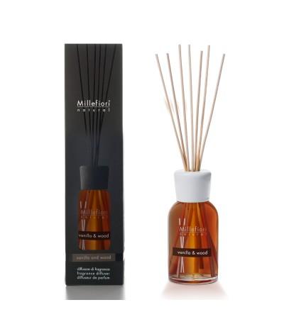 Vanilla & Wood - Diffusore 250ml  a bastoncini Natural Millefiori Milano