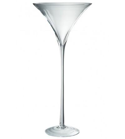 Jolipa - Porta candela su piede in vetro trasparente Hurricane 67 cm