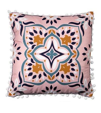Cuscino maioliche toni rosa e blu sfoderabile bordo pom-pom - Montemaggi