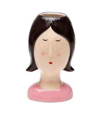 Coco Girl capelli caschetto neri vaso in ceramica - Montemaggi