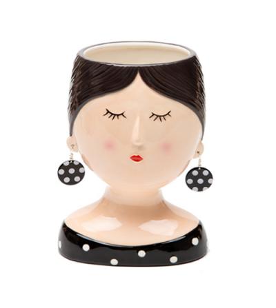 Coco Girl con orecchini neri a pois vaso in ceramica - Montemaggi