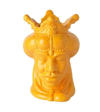 Vaso testa di moro re gialla dipinto a mano porcellana - Montemaggi