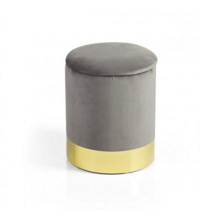 Glam pouf cilind. apribile velluto grigio base metallo dorato - Montemaggi