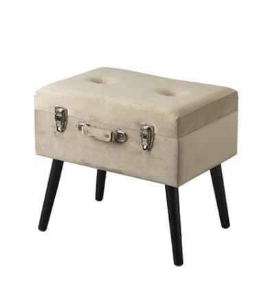 Pouf valigia contenitore velluto beige zampine legno - Montemaggi
