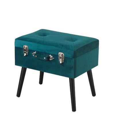 Pouf valigia contenitore velluto petrolio zampine legno - Montemaggi