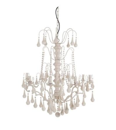 Lampadario 8 luci  in metallo e legno - Blanc Mariclò