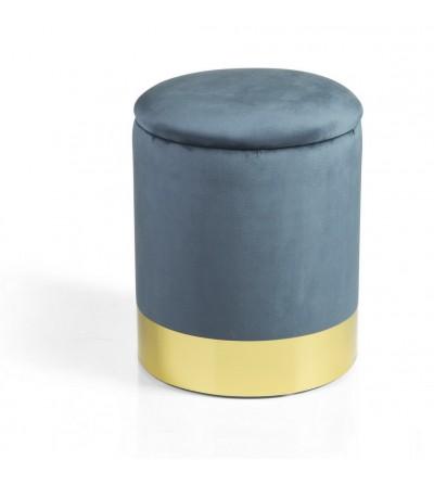 Glam pouf cilind. apribile velluto blu base metallo dorato - Montemaggi
