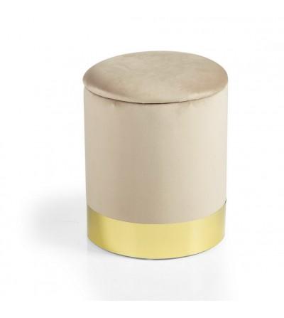 Glam pouf cilind. apribile velluto nocciola base metallo dorato - Montemaggi