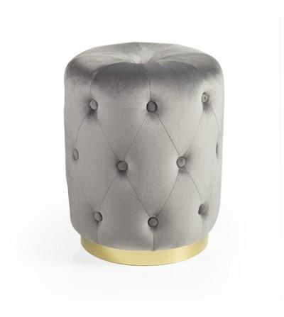 Glam pouf cilind. matelau velluto grigio base metallo dorato - Montemaggi