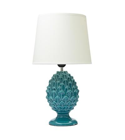 Lampada da tavolo pigna in porcellana turchese con cappello- Montemaggi