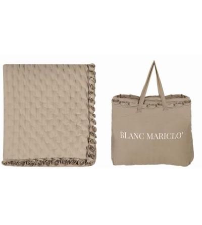 Boutis matrimoniale con rose a rilievo - Blanc Mariclò