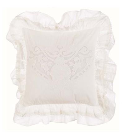 Cuscino con gale collezione Cotton shadows Bianco- Blanc Mariclò
