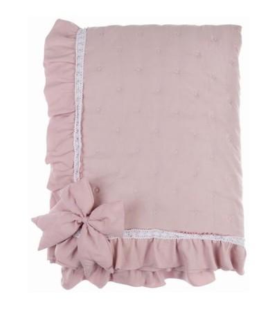Boutis singola con fiocco Rosa - Blanc Mariclò