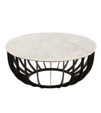 Tavolo da Salotto Rotondo Marrone/Ferro Bianco/Nero Large- JLine